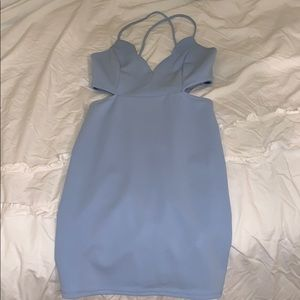 Light blue body con cut out dress!